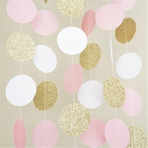 Sorive Paper Garland, 5 Pack 50ft Hanging Glitter Paper Garland Circle Dots for Wedding, Bridal Showers, Birthday Party, Baby Shower, Event & Party Decor (Circle Polka Dots-Pink White Gold)