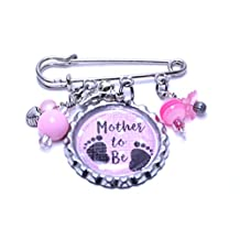 NicNac Baby Shower Mother to Be It's a Girl Stylized Pink Safety Pin Charms