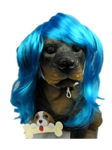 [Tanya Pet Supplies -Dog Costumes Blue Wavy Syethetic Hair Pet Dog Cat Wigs-gift] (Et Costume For Dogs)