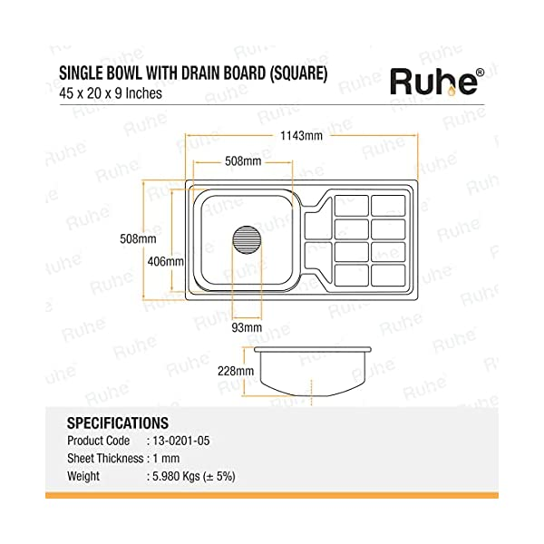 Ruhe Premium Stainless Steel Square Single Board with Drain Board Kitchen Sink (Glossy Finish) (45x20x9)