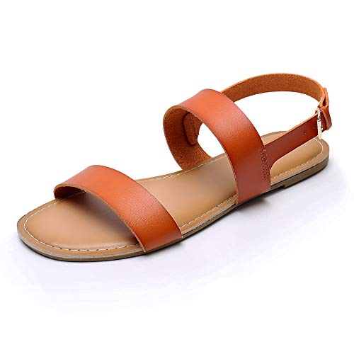 Women's Classic Open Toes Two Band Ankle Strap Buckle Flat Sandals Soft Anti-Slip Summer Flexible Shoes (Brown)
