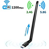 Wireless USB Wifi adapter for Desktop/PC//Laptop ac1200Mbps,Suntrsi USB Wifi Adapter 5.8GHz/2.4GHz Dual Band 1200Mbps,Supports Windows 10/8/7/8.1/XP/Mac Os