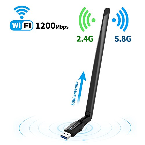 (Wireless USB Wifi adapter for Desktop/PC//Laptop ac1200Mbps,Suntrsi USB Wifi Adapter 5.8GHz/2.4GHz Dual Band 1200Mbps,Supports Windows 10/8/7/8.1/XP/Mac Os)