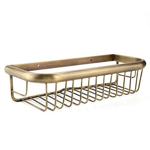 Fdit Rectangular Storage Rack Wall Mounted Shelf Solid Copper Shower Basket Soap Shampoo Storage Holder for Bathroom - Solid Brass Rectangular Shower Basket