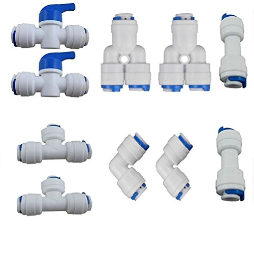 Lemny 1/4 inch OD Quick Connect Push In to Connect Water Tube Fitting Pack Of 10 (Ball Valve+Y+T+I+L Type Combo) (Tee Plastic Tubing)