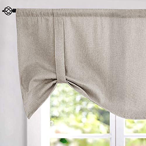 18 Inch Valance - Tie up Valances for Windows Linen Textured Room Darkening Adjustable Tie Up Shade Window Curtain Rod Pocket Tie up Valance Curtains 18 Inches Long 1 Panel Greyish Beige