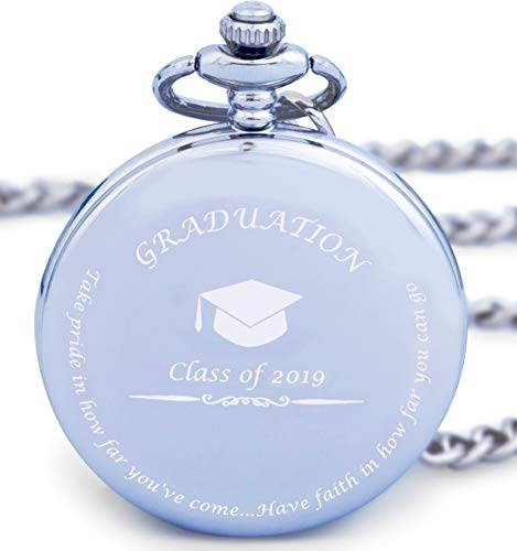 Graduation Gifts for Him - Pocket Watch - Engraved 'Class of 2019' – Perfect College / High School Graduation Gift or Present for Son | Him in -