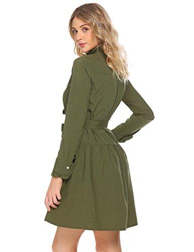 Frontale Camicia Allentato Casuale Verde Manica Oliva Cintura A Vestito Lunga Pulsante Maglia Della Rigonfiamenti Con qwvIHZE4