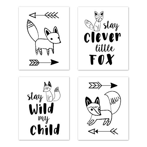(Sweet Jojo Designs Wall Art Prints Room Decor for Baby, Nursery, and Kids for Black and White Fox Collection - Set of 4 - Stay Clever, Stay Wild)