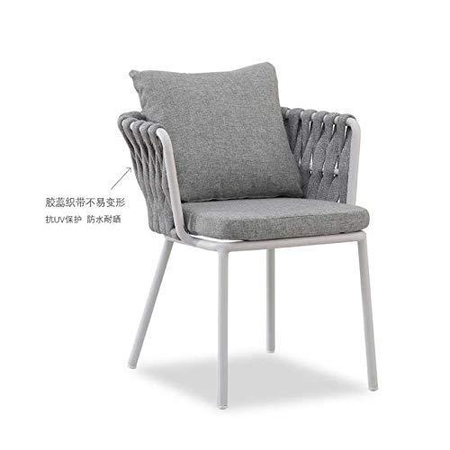 Freizeitstuhl,DASENLIN Stuhl, Home Webbing Webstuhl, solider Aluminiumrahmen Stuhl, Weberei Gartenliege, Größe W61XD65XH70cm, Gurtstuhl grau Weißszlig; (Einzelstück)
