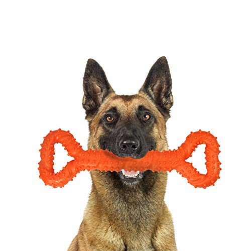 Palmula Dog Chew Toy for Aggressive Chewers,Durable Dog Toy for Changing Teeth Puppy Chew Toy for Energetic Dogs Large Dogs (Orange)