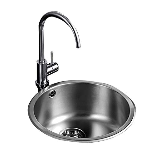 - Kitchen Sinks Round Single Trough Sink 304 Stainless Steel Bar Trough Restaurant Bath Tub Coffee Restaurant Sink Tableware Water Cup Pool (Color : Silver, Size : 4418.5cm)