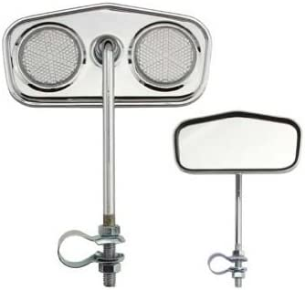 CHROME DIAMOND REAR VIEW BICYCLE MIRROR w//GRAY REFLECTORS  LOWRIDER CRUISER