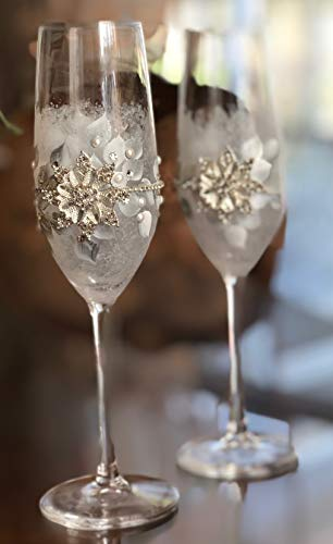 Frosted Champagne Hand Painted Glass (Hand Painted Frosted Crystal Snowflake Winter Wedding Champagne Flutes Set of 2)