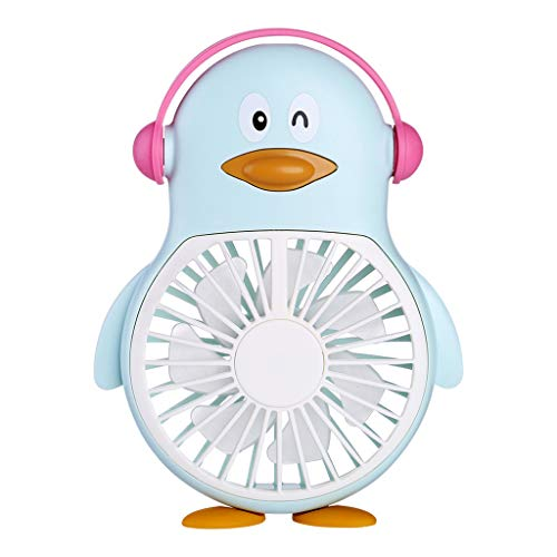 Holzkary Mini Handheld Fan - Cute USB Rechargeable Fan, Small Personal Fan with Multi-Color LED Light, Perfect for Indoor or Outdoor Activities Black/Blue/Pink(16X11X4CM.Blue)