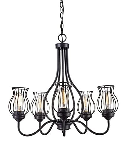 Bel air lighting industrial cage 5 light chandelier amazon bel air lighting industrial cage 5 light chandelier aloadofball Image collections