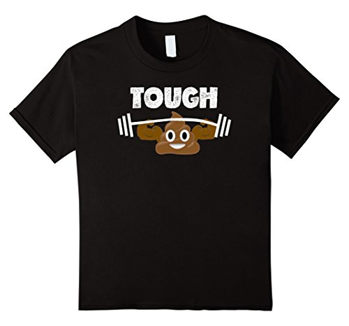 Kids Idiom Costumes (unisex-child Original Poop Emoji T Shirt Tough Poop Emoji Funny Shirt 8 Black)