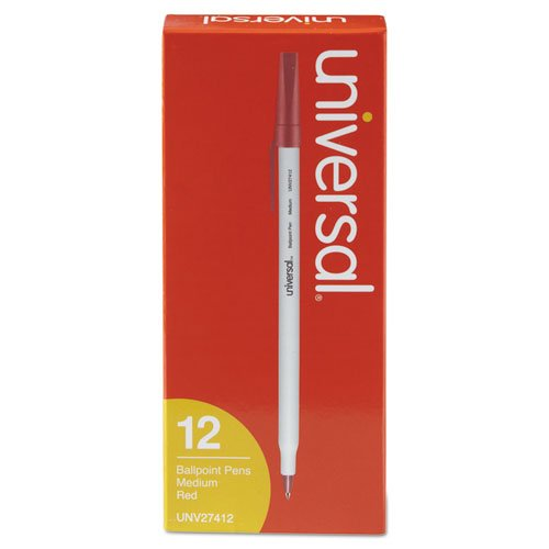 - Universal Economy Ballpoint Stick Oil-Based Pen, Red Ink, Medium, Dozen (27412)