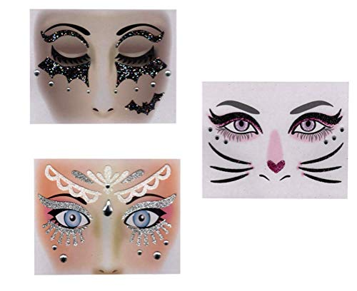 Halloween Face Art Stickers Masquerade, 3 Pack (Princess,