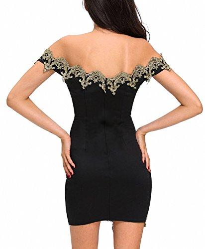 Vestidos de mujer más tamaño rojo encaje negro de hombro mini vestido bodycon Night Clubwear Negro