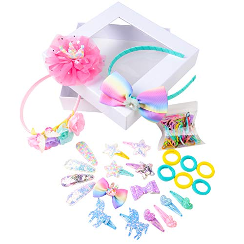 (Little Girls Hair Accessories Gift Set Flowers Hairbands Sparkly Snap Clips and Hair Ties)