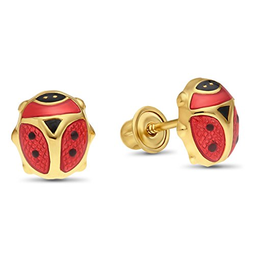 Childrens 14k Yellow Gold Enamel Ladybug Stud Earrings with Secure Screw-backs (Red)