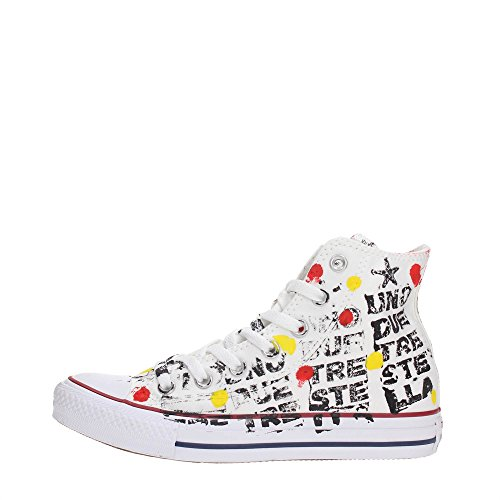 Converse, Unisex adulto, Chuck Taylor All Star High Canvas LTD White Black Writing Hand Paint, Tela, Sneakers Alte, Bianco, 40 EU