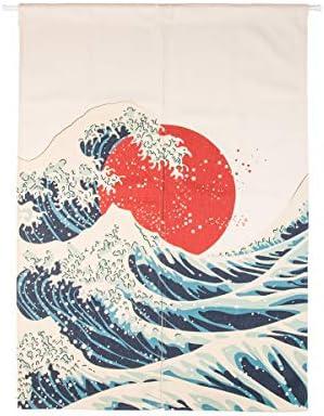 Cotton Linen Japanese Noren Doorway Curtain Tapestry Hokusai Ukiyoe Home Decor Room Divider 33.5 Width x 47.2 Long Great Wave of Kanagawa
