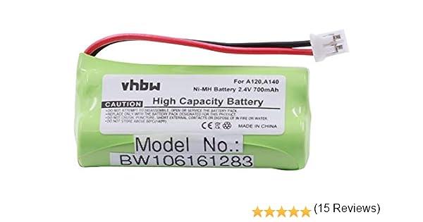 vhbw NiMH batería 700mAh (2.4V) para teléfono, Fijo Siemens Gigaset AL110, AL110 Duo, AL110 Trio, AL110a, AL110a Duo, AL110a Trio, C30852D1640X1.: Amazon.es: Electrónica