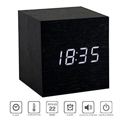 PerryLee Wood Wooden Cube Digital LED Light Desk Travel Mute Alarm Clock USB/AAA Timer Temperature Snooze Voice Sound Control
