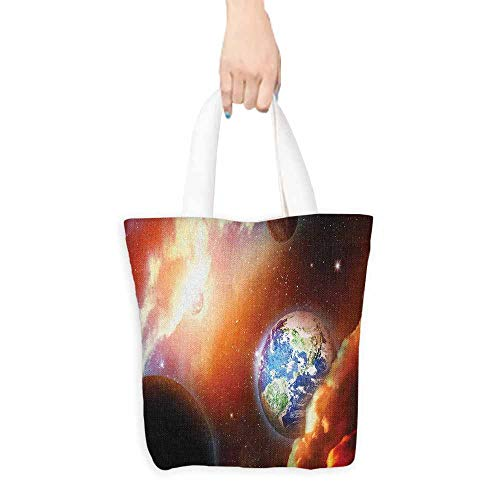 Tote bag Space Dust Cloud Nebula Stars in Solar System Scene with Planet Earth Pluto and Neptune Coin cash wallet 16.5