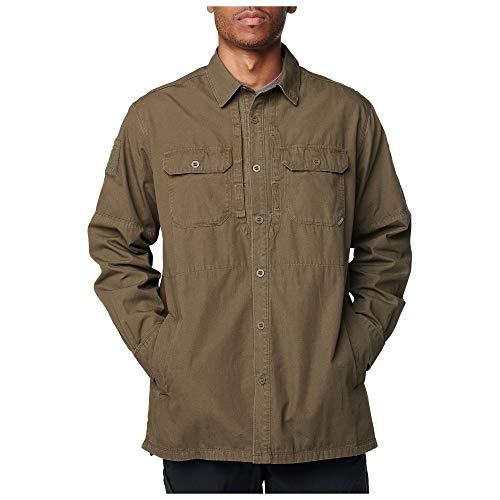 5.11 Chaqueta tipo camisa Frontier táctica para hombre, corte regular, lona de algodón, bolsillos listos, estilo 72497