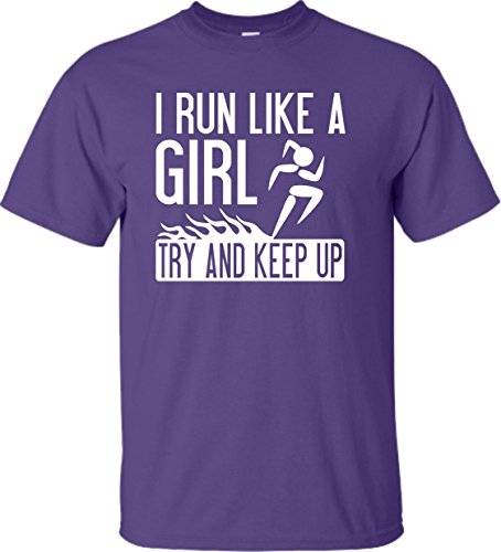 YM 10-12 Purple Youth I Run Like A Girl Try to Keep Up Funny Running T-Shirt