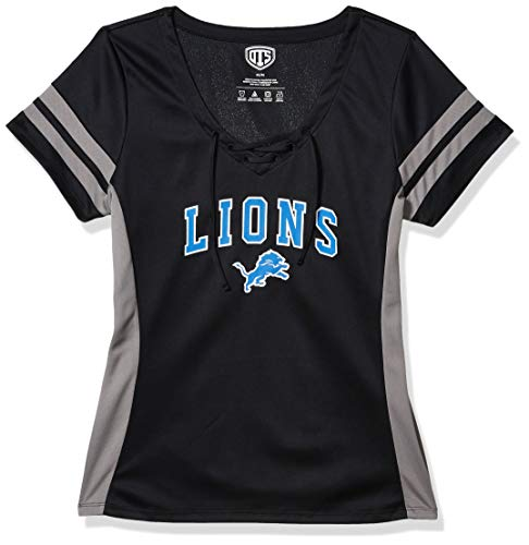 OTS NFL Detroit Lions Women's Poly Lace Up V-Neck Tee, Weber, Medium