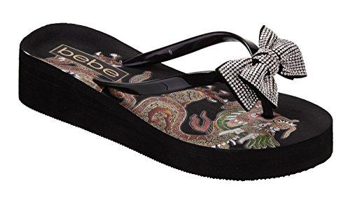 bebe Women's Jamye Sandal, Black, 10 Medium US