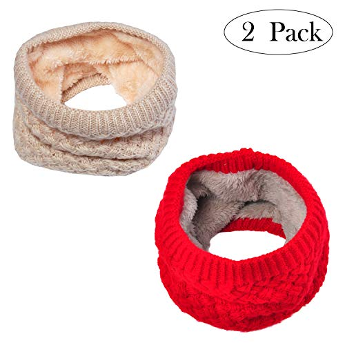 Lo Shokim Infinity Scarf Circle Loop Knit Neck Warmer Winter Warm Scarf Neck Gaiter, Beige Red (Cozy Fleece Scarf)