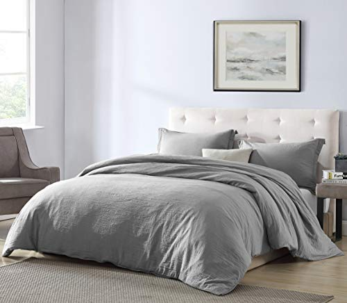 EXQ Home Grey Duvet Cover Set King Size 3 Pcs, Hotel Collection Vintage Bedding Hypoallergenic Soft Microfiber Comforter Cover with Zipper Closure