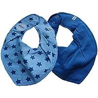 Fifi Lot de 2 Baby Chiffon Triangle Bandana Bavoir uni bleu & Bleu Clair avec étoiles