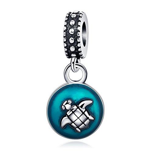 Dangle Sea Turtle 925 Sterling Silver Charms Pendant Blue Enamel Tortoise Animal Bead For Bracelets Necklaces - Charm Dangle Enamel Pendant