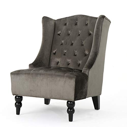 Tall Wingback Tufted Velvet Accent Chair, Vintage Club Seat for Living Room (Gray)