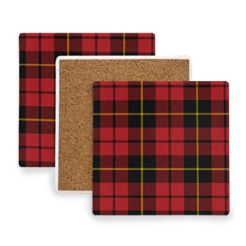 - Wallace Clan Red Tartan Ceramic Coasters for Drinks,Square 4 Piece Coaster Set
