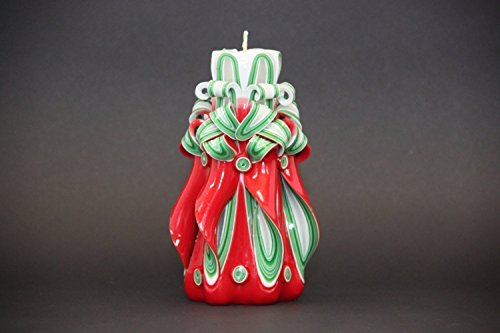 Christmas Tree Decorative Carved Candle - Red, Green, White - Hostess Gift Ideas - EveCandles (Christmas Tree Soap Carving)