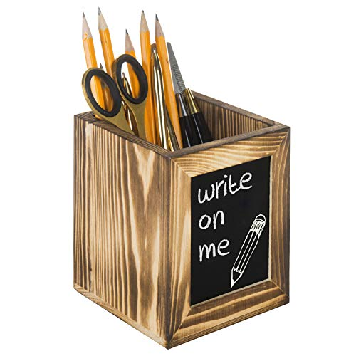 (Rustic Torched Wood Office Supply Holder, Pen and Pencil Cup with Front Chalkboard Surface)