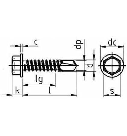 verzinkt farblos 100 St/ück Reidl Bohrschrauben Blechschrauben mit Bohrspitze 6,3 x 160 mm DIN 7504 Stahl galv