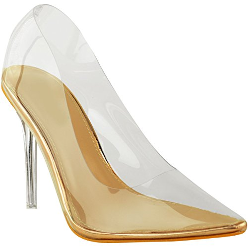 Fashion Thirsty Womens Court Shoes Perspex Clear High Heel Stilettos Pumps Clear Party Size 9