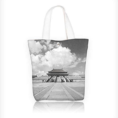 - Reusable Cotton Canvas Zipper bag forbidden city in beij china Tote Laptop Beach Handbags W16.5xH14xD7 INCH