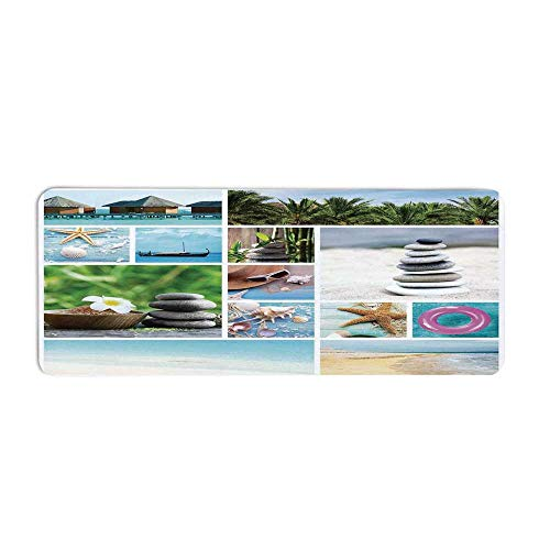 - TecBillion Spa Fashionable Long Door Mat,Collage of Spa Composition with Tropical Sandy Beach Ocean Rock Views Relax Rest Image for Home Office,23.6