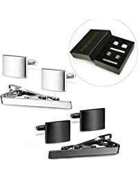FIBO STEEL Tie Clips Cufflink Set for Men Classic Wedding Cufflinks.