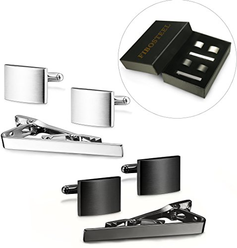 FIBO STEEL Tie Clips Cufflink Set for Men Classic Wedding Cufflinks Mens Dad Birthday Anniversary ()