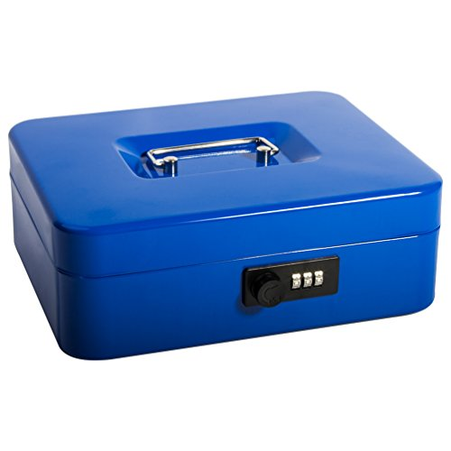 Safe Cash Box With Combination Lock, Decaller Medium Double Layer Cash Box with Money Tray Locking Storage Box, 9 4/5